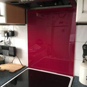 Deep Pink Acrylic Kitchen Splashback