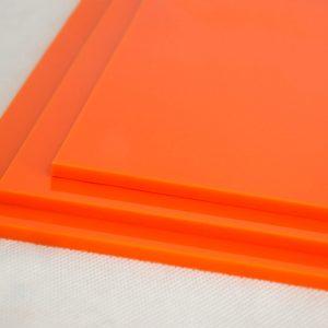 100% Recycled Orange Greencast Acrylic Sheet (Gloss Finish)