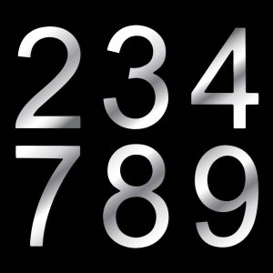 Mirrored Dibond House/Sign Numbers 0 -9