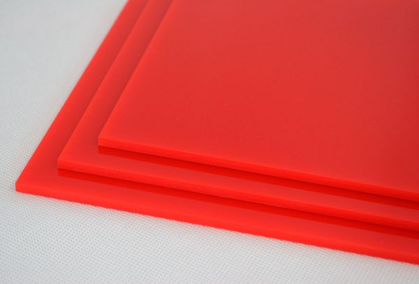 100% Recycled Red Greencast Acrylic Sheet (Gloss Finish)